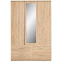 Product photograph showing Peru 3 Door 4 Drawer Mirrored Wardrobe
