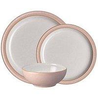 Product photograph showing Denby Elements 12-piece Dinner Service Set Ndash Sorbet Pink