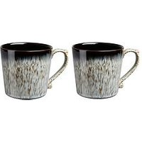 Product photograph showing Denby Halo Grey Speckle Set Of 2 Heritage Mugs