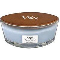 Product photograph showing Woodwick Hearthwick Flame Ellipse Candle Ndash Soft Chambray