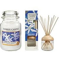 Product photograph showing Yankee Candle Midnight Jasmine Large Jar Candle And Reed Diffuser Bundle