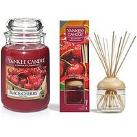 Product photograph showing Yankee Candle Black Cherry Large Jar Candle And Reed Diffuser Bundle