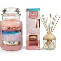 Product photograph showing Yankee Candle Pink Sands Large Jar Candle And Reed Diffuser Bundle