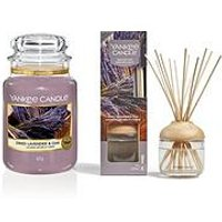Product photograph showing Yankee Candle Dried Lavender Amp Oak Large Jar Candle And Reed Diffuser Bundle