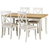 Product photograph showing Julian Bowen Davenport 150-189 Cm Extending Dining Table And 4 Chairs