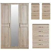 Product photograph showing Swift Winchester Part Assembled 4 Piece Package - 3 Door Mirrored Wardrobe Chest Of 5 Drawers And 2 Bedside Chests