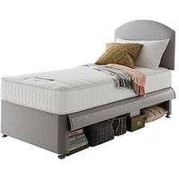 Product photograph showing Silentnight Silentnight Maxi Store Divan Bed Set With Kids Sprung Matress Including Headboard - Grey