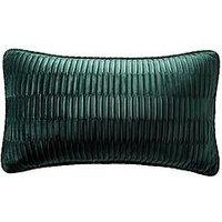 Product photograph showing Karen Millen Velvet Pleat Boudoir Cushion - Emerald