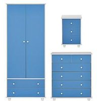 Product photograph showing Miami Fresh Kids 3 Piece Package - 2 Door 2 Drawer Wardrobe 5 Drawer Chest 3 Drawer Bedside Chest - Blue