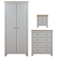 Product photograph showing Atlanta 3 Piece Package - 2 Door Wardrobe 4 Drawer Chest And 2 Drawer Bedside Chest