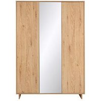 Product photograph showing Leon 3 Door Mirrored Wardrobe