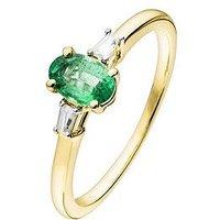 Love Gem 9Ct Gold Emerald And Baguette Cut Diamond Set Ring