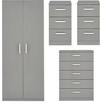 Product photograph showing Sanford High Gloss Ready Assembled 4 Piece Package - 2 Door Wardrobe Chest Of 5 Drawers And 2 Bedside Chests