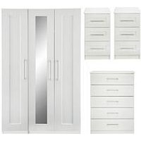 Product photograph showing Frodsham Part Assembled 4 Piece Package - 3 Door Mirrored Wardrobe 5 Drawer Chest And 2 Bedside Chests