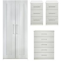 Product photograph showing Frodsham Ready Assembled 4 Piece Package - 2 Door Wardrobe 5 Drawer Chest And 2 Bedside Chests