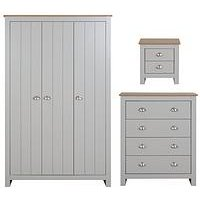 Product photograph showing Atlanta 3 Piece Package - 3 Door Wardrobe 4 Drawer Chest And 2 Drawer Bedside Table