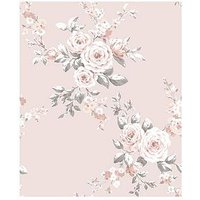 Product photograph showing Catherine Lansfield Canterbury Floral Wallpaper Ndash Pink
