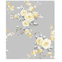 Product photograph showing Catherine Lansfield Canterbury Floral Wallpaper Ndash Grey Ochre