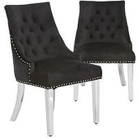 Product photograph showing Pair Of Warwick Velvet Dining Chairs