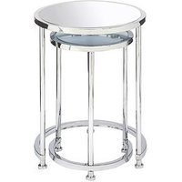 Product photograph showing Michelle Keegan Home Aruba Mirrored Nest Of Lamp Tables