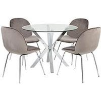 Chopstick 100 Cm Glass Top Round Dining Table + 4 Penny Velv