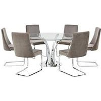 Product photograph showing Alice 130 Cm Round Dining Table 6 Velvet Chairs - Clear Grey