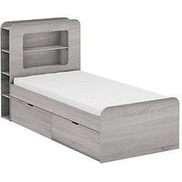 Product photograph showing Aspen Kids Storage Bed Frame - Grey Oak - Storage Bed With Premium Mattress