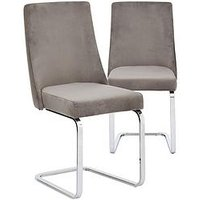 Product photograph showing Pair Of Alice Velvet Dining Chairs - Grey Chrome