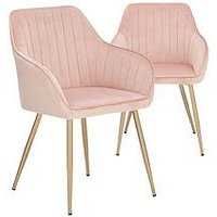 Product photograph showing Pair Of Alisha Brass Legged Dining Chairs - Pink