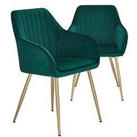 Product photograph showing Pair Of Alisha Brass Legged Dining Chairs - Green