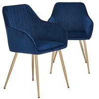 Product photograph showing Pair Of Alisha Brass Legged Dining Chairs - Blue
