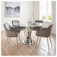 Alice Glass Top Dining Table + 4 Alisha Chairs - Chrome/Grey