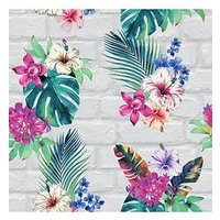 Product photograph showing Accessorize Camden Brick Floral Wallpaper