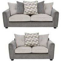 Product photograph showing Orson 3 Seater 2 Seater Fabric Scatter Back Sofa Set