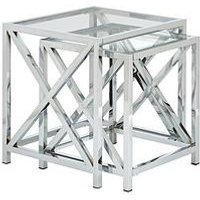 Product photograph showing Christie Glass And Chrome Nest Of 2 Tables