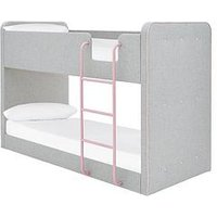 Product photograph showing Charlie Fabric Bunk Bed - Grey Pink - Bunk Bed Only