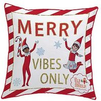 Product photograph showing Elf On The Shelf Merry Vibes Only Christmas Cushion