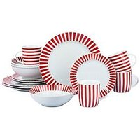 Product photograph showing Waterside Red Stripe 16-piece Dinner Set