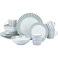 Product photograph showing Waterside Grey Stripe 16-piece Dinner Set