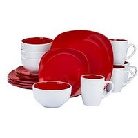 Product photograph showing Waterside Nova 16-piece Dinner Set - Red