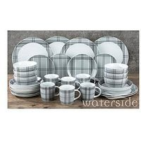 Product photograph showing Waterside Grey Tartan 30-piece Dinner Set