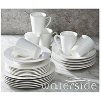 Product photograph showing Waterside 24-piece White Embossed Linear Dinner Set