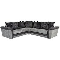 Product photograph showing Manhattan Fabric And Faux Snakeskin Scatter Back Corner Group Sofa
