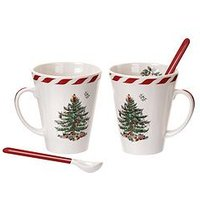 Product photograph showing Portmeirion Peppermint Christmas Tree Set Of 2 Mugs Amp Spoons
