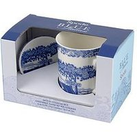 Product photograph showing Portmeirion Spode Blue Italian Mugs And Coaster Set
