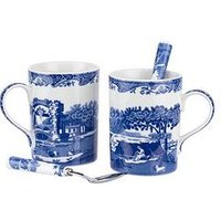 Product photograph showing Portmeirion Spode Blue Italian Set Of 2 Mugs And 2 Teaspoons
