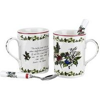 Product photograph showing Portmeirion Holly Amp Ivy Set Of 2 Mugs And 2 Teaspoons