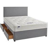 Product photograph showing Silentnight Miracoil 3 Celine Tufted Ortho Divan Bed With Storage Options - Firm