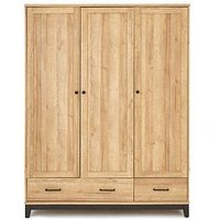 Product photograph showing Dalston 3 Door 2 Drawer Wardrobe With Inside Mirror