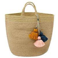Product photograph showing Monsoon Jute Metallic Tassel Basket